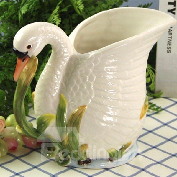 Cute Ceramic Swan Flower Vase Painted Pottery