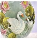 Green Ceramic Swan and Lotus Pattern Desktop Decoration Painted Pottery