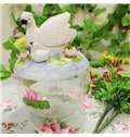 Transparent Glass Swan Candy Jar Painted Pottery