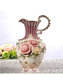 Purple Ceramic Flower Pattern Flower Vase Painted Pottery