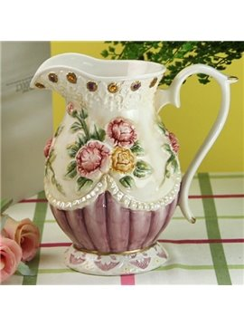 Beautiful Ceramic Flower Pattern Water Tank Painted Pottery