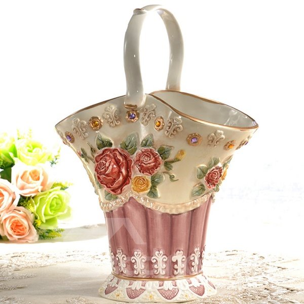 Gorgeous Ceramic Cabas Flower Vase Painted Pottery