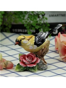 Ceramic Oriole and Flower Desktop Decoration Painted Pottery