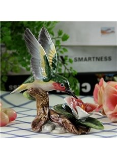 Funny Ceramic Hummingbird Desktop Decoration Painted Pottery