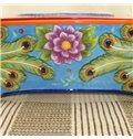 Splendid Ceramic Peacock Pattern Tissue Box Painted Pottery