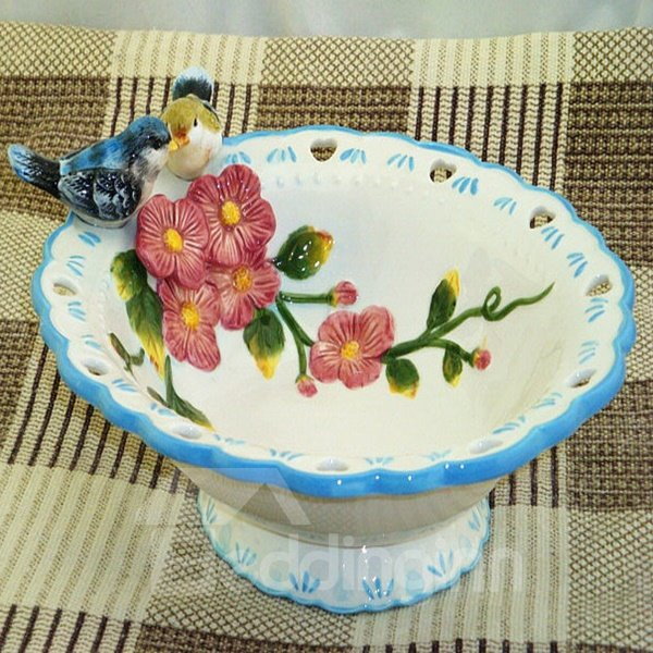 Blue and White Lovebirds Pattern Candy Bowl Painted Pottery