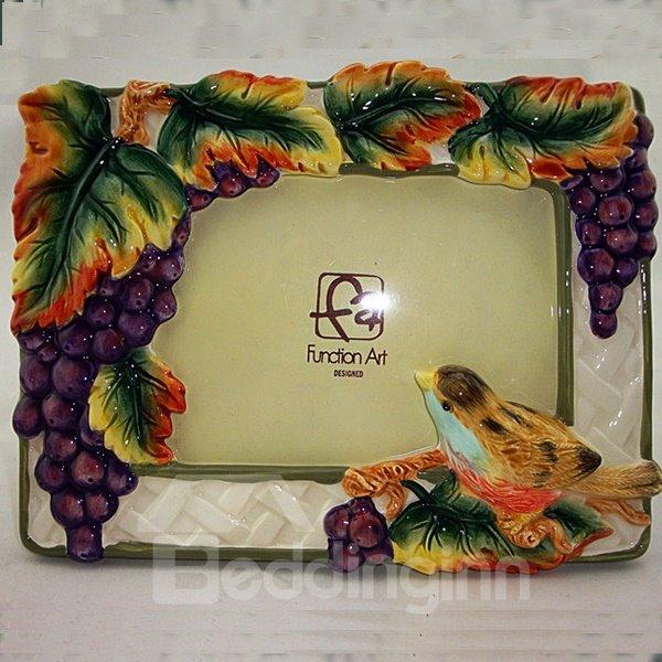 Creative Ceramic Grape Photo Frame Painted Pottery