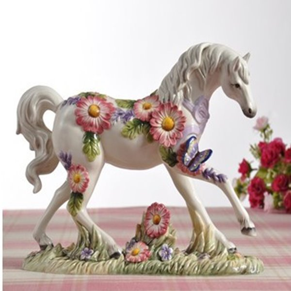 White Ceramic Flower and Butterfly Pattern Horse Painted Pottery 12195234