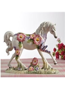 White Ceramic Flower and Butterfly Pattern Horse Painted Pottery