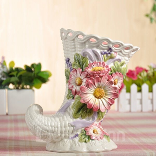 Modern Ceramic Ox Horn Shape Flower Vase Painted Pottery