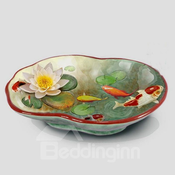 Vivid Ceramic Fish and Lotus Pattern Candy Bowl Painted Pottery 12195387