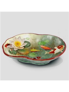 Vivid Ceramic Fish and Lotus Pattern Candy Bowl Painted Pottery