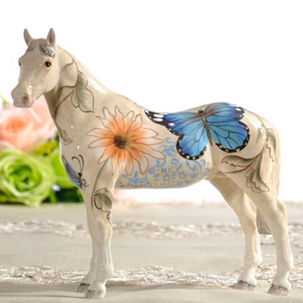 Unique Ceramic Flower and Butterfly Pattern Horse Painted Pottery 12195388