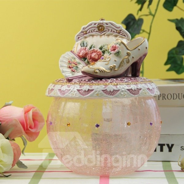 Pink Ceramic and Glass Transparent Candy Jar Painted Pottery