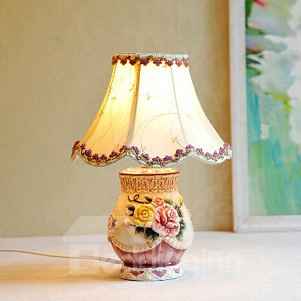 Creative Ceramic Flower Pattern Table Lamp Painted Pottery 12195393
