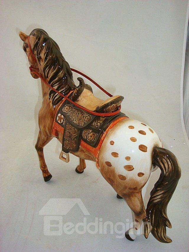 Bronze Ceramic Horse Desktop Decoration Painted Pottery