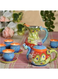 European Style Ceramic Peacock Tea Set Painted Pottery