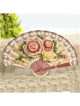 Sector Ceramic Flower Pattern Desktop Decoration Painted Pottery