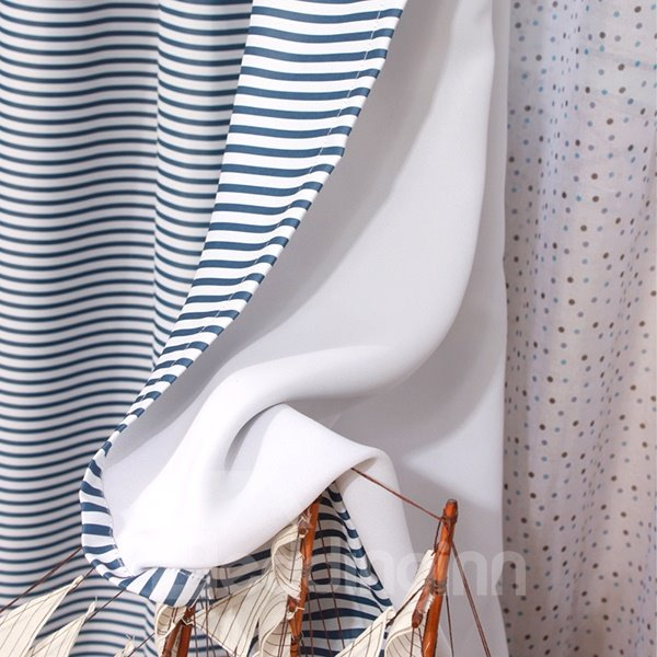 Navy Blue And White Stripes Blackout Grommet Top Curtain