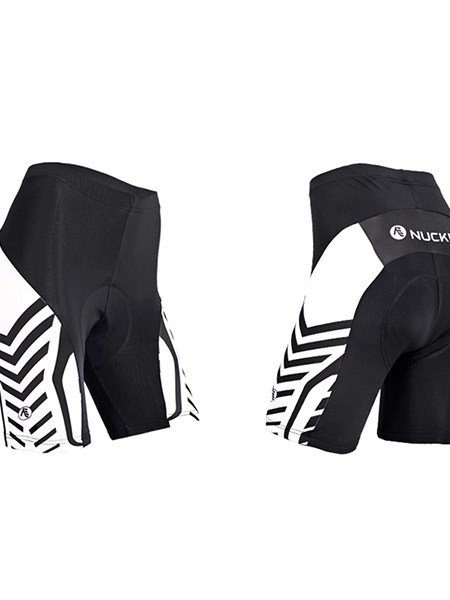 Female White and Black Strip Breathable Shorts with 3D Pad Quick-Dry Cycling Shorts