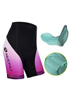 Female Breathable Black and Purple Bike Shorts with 3D Padded Quick-Dry Cycling Shorts