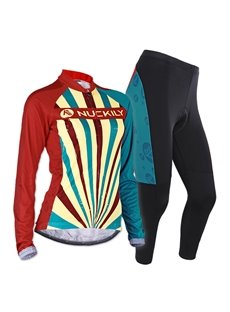 Female Colorful Strip Long Sleeve Bike Jersey with Full Zipper Breathable Cycling Suit