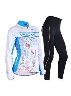 Female Colorful Leaves Breathable Jersey with Full Zipper Sponged Long Sleeve Cycling Suit