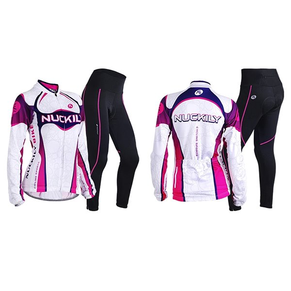 Female Streamline Purple Bike Jersey with Full Zipper Breathable Sponged Cycling Suit