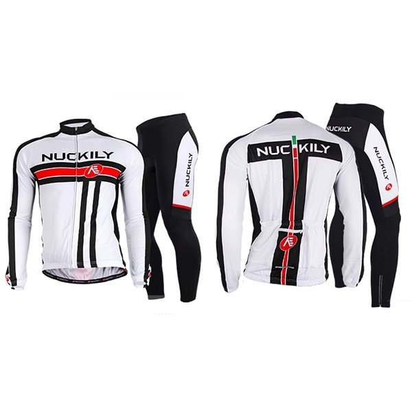 Male White Full Zipper Bike Jersey Quick-Dry Sponged Shorts Long Sleeve Cycling Suit