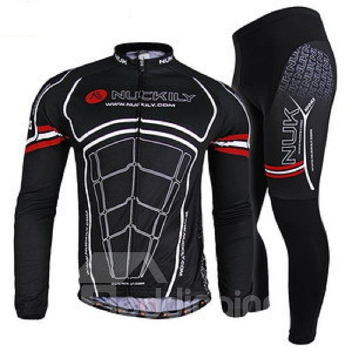 Male Black Muscle Pattern Breathable Bike Jersey with Full Zipper Quick-Dry Cycling Suit