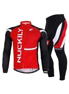 Male Red Breathable Bike Jersey with Full Zipper Long Sleeve Breathable Cycling Suit