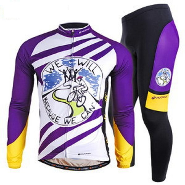 Male Purple Strip Cartoon Breathable Bike Jersey with Full Zipper Quick-Dry Cycling Suit