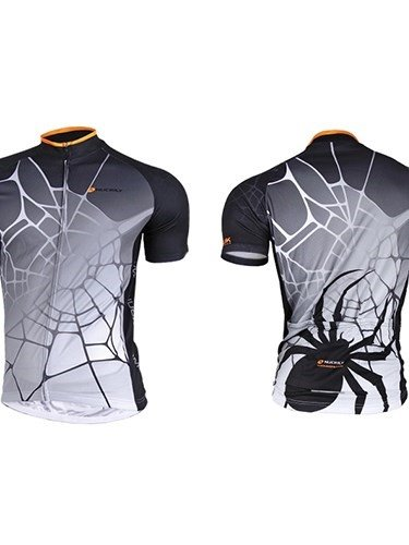 Female Orange Spider Web Breathable Bike Cloth with Full Zipper Quick-Dry Cycling Jersey