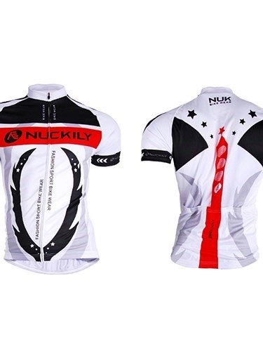 Male White Breathable Short Sleeve Bike Cloth with Full Zipper Quick-Dry Cycling Jersey