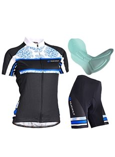 Female Peony Breathable Short Sleeve Bike Cloth Quick-Dry Sponged Cycling Suit