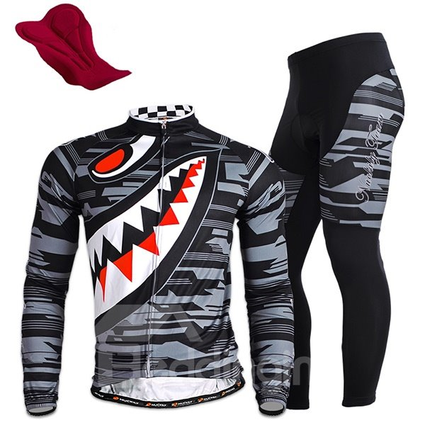Male Cartoon Breathable Long Sleeve Jersey with Full Zipper Sponged Cycling Suit