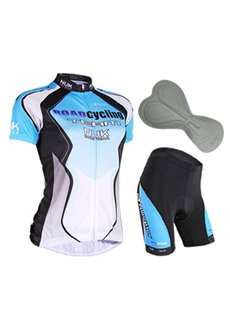 Female Blue Bike Jersey with Full Zipper Sponged Bicycle Shorts Quick-Dry Cycling Suit