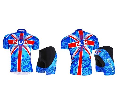 Male Union Jack Short Sleeve Bike Jersey with Full Zipper Quick-Dry Cycling Suit