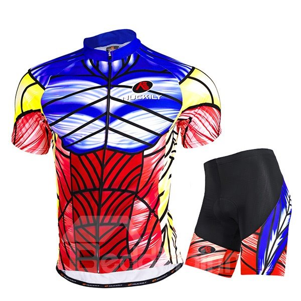 Male Printed Mischievous Muscle Pattern Breathable Short Sleeve Sponged Quick-Dry Cycling Suit
