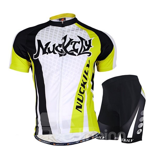 Male Breathable Short Sleeve Jersey with Full Zipper Quick-Dry Cycling Suit