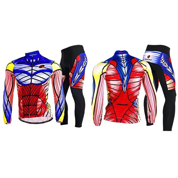 Male Mischievous Printed Muscle Pattern Breathable Long Sleeve Jersey Quick-Dry Sponged Cycling Suit