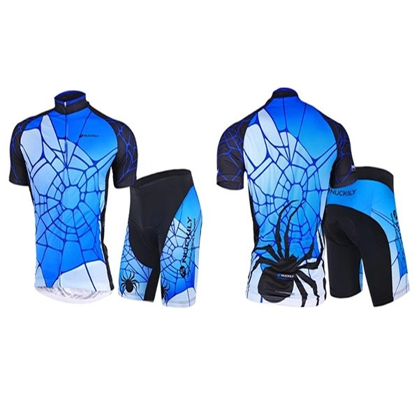 Male Spider Web Quick-Dry Short Sleeve Full Zipper Jersey Cycling Suit