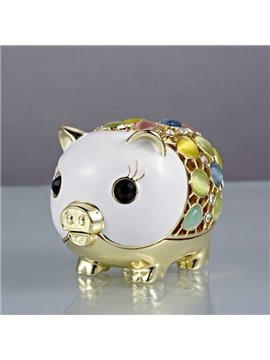 Most Popular Little Pig Gold And Diamond Bling Creative Car Decor