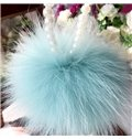 Beautiful Plush Ball With Charming Pearl Necklace Creative Car Decor