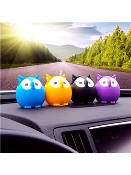 Colorful Cute Owl Cartoon Green Plastic Material Creative Car Decor