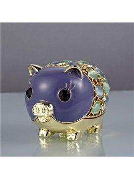 Luxurious Little Cute Pigs With Colorful Diamond Creative Car Decor