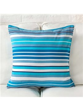 Fancy Sky Blue and White Stripes Print Throw Pillow Case