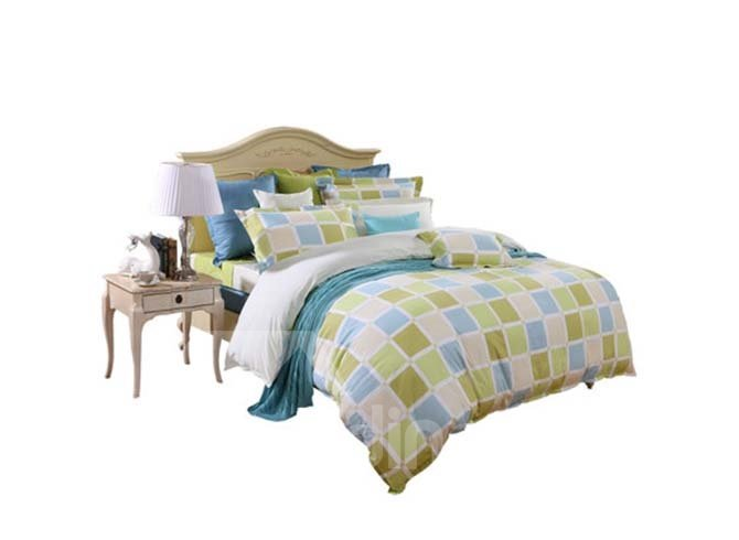 Hot Concise Colorful Checkered 4-Piece Cotton Bedding Sets