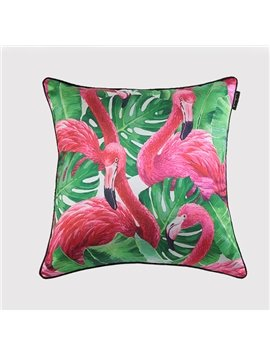 Graceful Flamingo and Tropical Leaves Print Throw Pillow Case