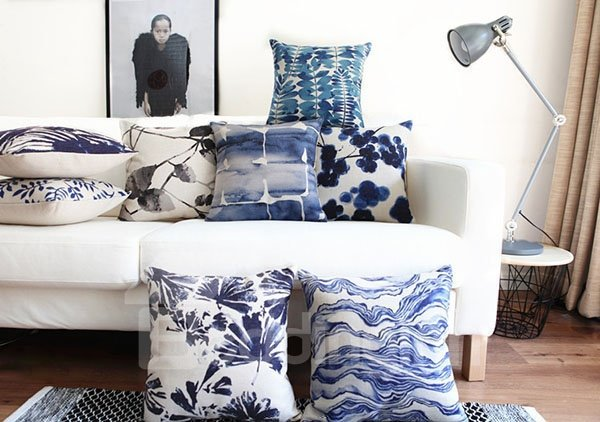 Unique Ethnic Tie-dyed Indigo Leaves Throw Pillow